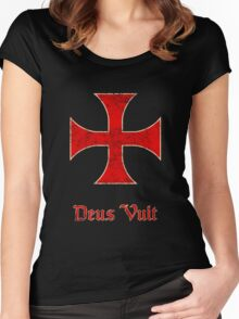 Deus Vult Crusader Templar Cross Women's Fitted Scoop T-Shirt