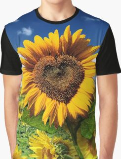 Sunflower Heart Graphic T-Shirt