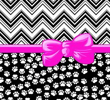 Ribbon, Bow, Dog Paws, Zigzag - White Black Pink by sitnica