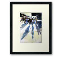 Shadows on the street Framed Print