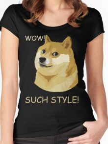 WOW! SUCH STYLE! Funny Doge Meme Shiba Inu T Shirt Women's Fitted Scoop T-Shirt