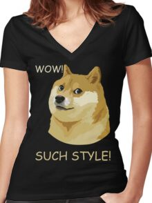 WOW! SUCH STYLE! Funny Doge Meme Shiba Inu T Shirt Women's Fitted V-Neck T-Shirt