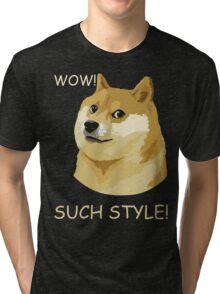 WOW! SUCH STYLE! Funny Doge Meme Shiba Inu T Shirt Tri-blend T-Shirt