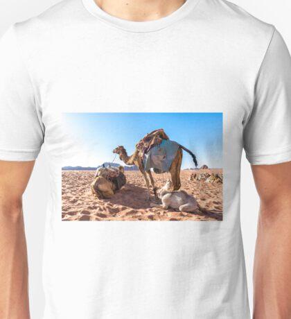 Dromedary camels in Wadi Rum desert, Jordan Unisex T-Shirt