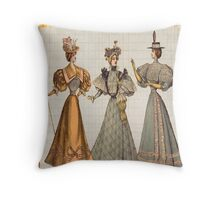 victorian fashionista ladies,ladies dressed in the victorian latest fashion,vintage,rustic,elegant,chic,girly Throw Pillow