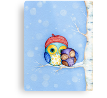 Owl in a Little Red Beret Metal Print