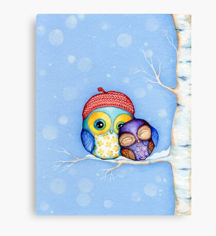 Owl in a Little Red Beret Canvas Print