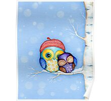 Owl in a Little Red Beret Poster