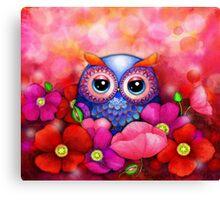 Owl in Poppy Field Canvas Print