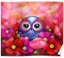 Owl in Poppy Field Poster