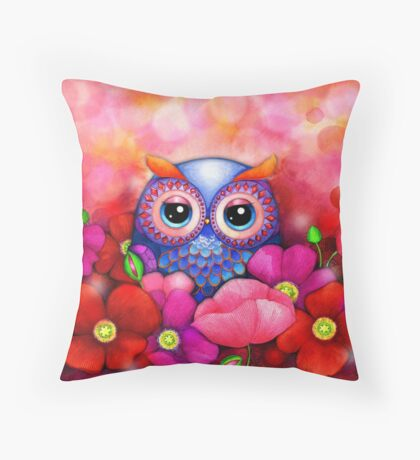 Owl in Poppy Field Throw Pillow