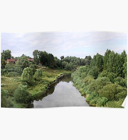 Rural river landscape Poster
