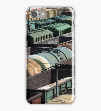 many rail cars at the station iPhone Case/Skin