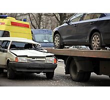 incredible collision of a passenger car and a tow truck Photographic Print