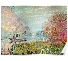 Claude Monet - The Boat Studio On The Seine 1875  Poster