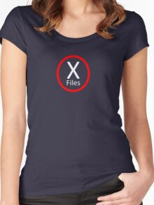 X Files, Red and White Women's Fitted Scoop T-Shirt