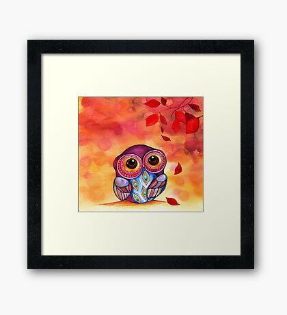 Owl's First Fall Leaf Framed Print