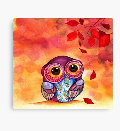 Owl's First Fall Leaf Canvas Print