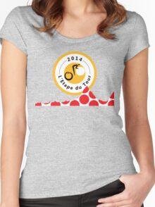 Red Polka Dot 2014 L'Etape du Tour Mountain Profile v2 Women's Fitted Scoop T-Shirt