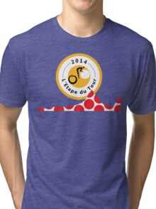 Red Polka Dot 2014 L'Etape du Tour Mountain Profile v2 Tri-blend T-Shirt
