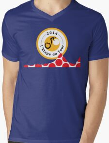 Red Polka Dot 2014 L'Etape du Tour Mountain Profile v2 Mens V-Neck T-Shirt