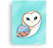 Tribal Pattern Barn Owl Canvas Print