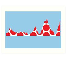 Red Polka Dot Mountain Profile Art Print