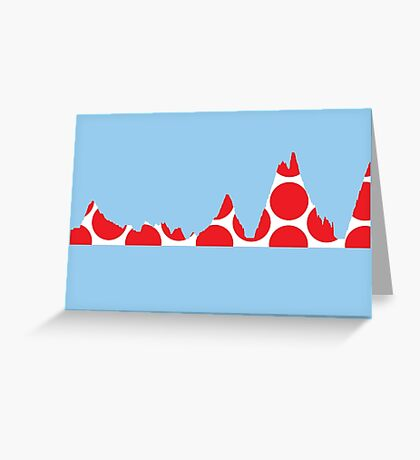 Red Polka Dot Mountain Profile Greeting Card