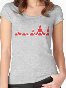 Red Polka Dot Mountain Profile Women's Fitted Scoop T-Shirt