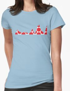 Red Polka Dot Mountain Profile Womens Fitted T-Shirt