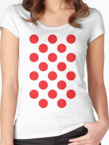 Red Polka Dot (King of the Mountains) Women's Fitted Scoop T-Shirt