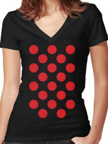 Red Polka Dot (King of the Mountains) Women's Fitted V-Neck T-Shirt
