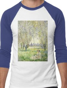 Claude Monet - Woman Seated Under The Willows 1880  Men's Baseball ¾ T-Shirt