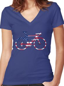 Bike Flag USA (Big) Women's Fitted V-Neck T-Shirt