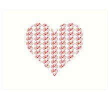Bike Heart (Red) (Small) Art Print