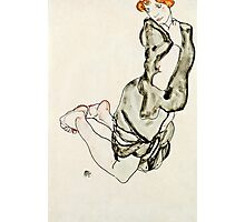 Egon Schiele - Kneeling Woman with a Gray Cape (Wally Neuzil) (1912)  Photographic Print