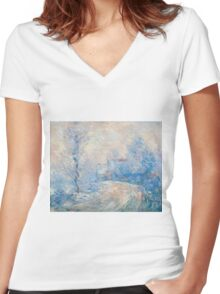 Claude Monet - The Entrance To Giverny Under The Snow  Women's Fitted V-Neck T-Shirt