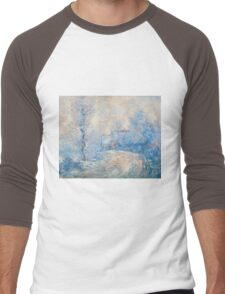 Claude Monet - The Entrance To Giverny Under The Snow  Men's Baseball ¾ T-Shirt