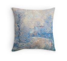 Claude Monet - The Entrance To Giverny Under The Snow  Throw Pillow