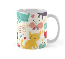 Cute colorful kittens and cats,feline art,kid,kids,pattern,butterflies,flowers,whimsical,modern,trendy Mug