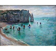 Claude Monet - Etretat The Aval Door Fishing Boats Leaving The Harbour Photographic Print