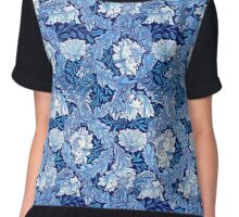William Morris Floral, Cobalt Blue and White  Chiffon Top