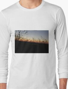 Plants With A Sunset Background Long Sleeve T-Shirt