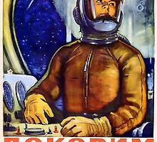 Conquer Space - Retro Soviet Space Poster - Propaganda by verypeculiar
