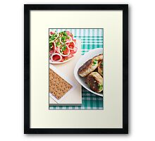 Homemade fried meatballs on a green tablecloth Framed Print