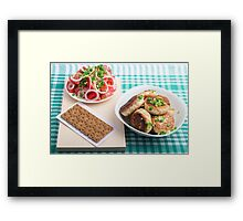 Top view on russian homemade lunch on a green tablecloth Framed Print