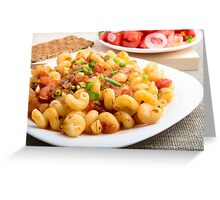 Cooked pasta cavatappi with vegetables sauce closeup Greeting Card