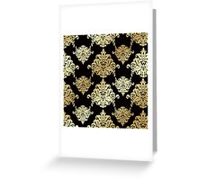 Gold,damask,black,vintage,pattern,victorian,chic,elegant,trendy,girly Greeting Card