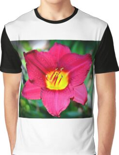 Vibrant Red Lily Graphic T-Shirt