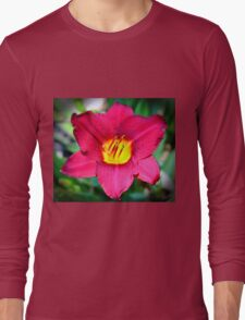 Vibrant Red Lily Long Sleeve T-Shirt